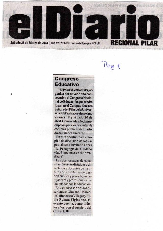 El Diario de Pilar, 23 de marzo de 2013