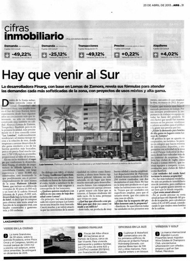 Diario de Arquitectura, Clarín, 23 de abril