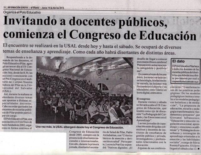 El Diario de Pilar, 18 de abril de 2013