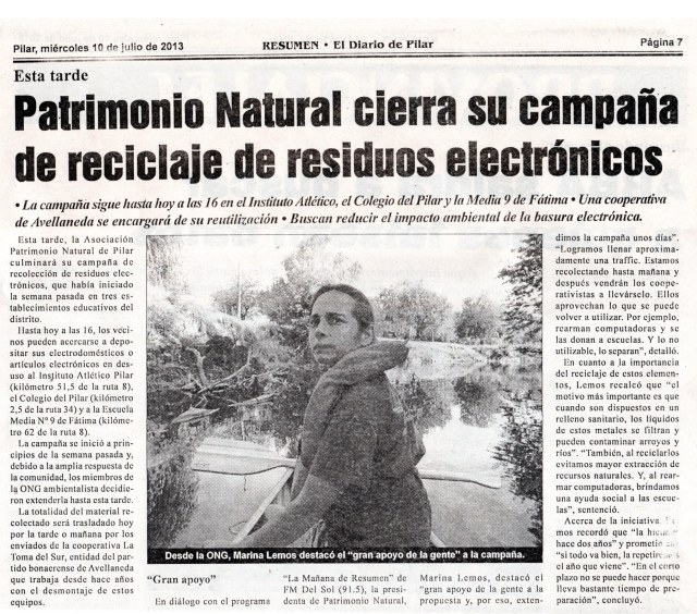 Diario Resumen, miércoles 10 de julio de 2013
