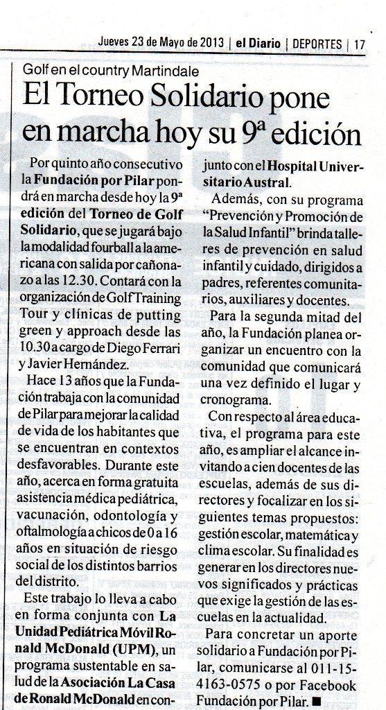 El Diario de Pilar, 23 de mayo de 2013 Fundación Por Pilar