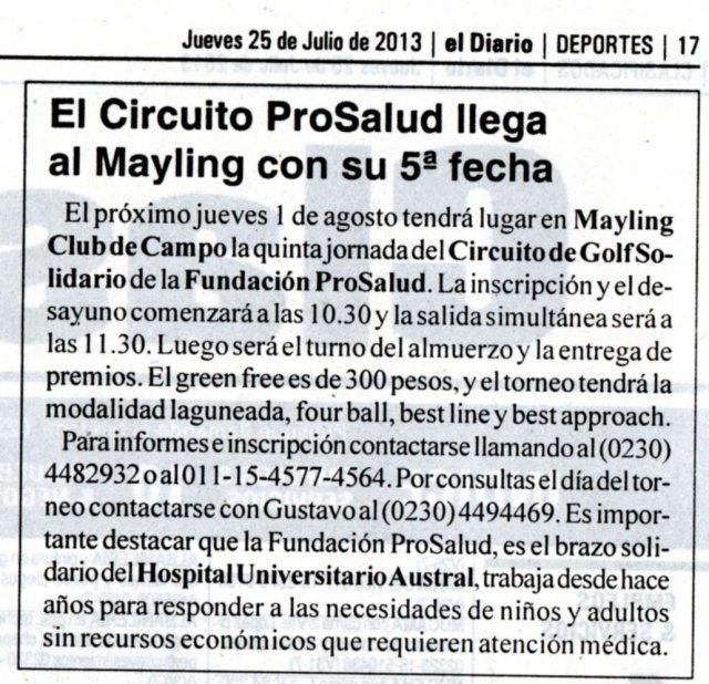 El Diario de Pilar, 25 de julio de 2013