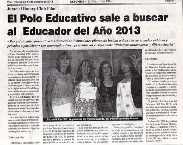 Diario Resumen, 14 de agosto de 2013